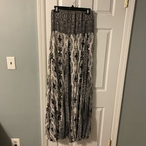 Free People black and white strapless maxi dress